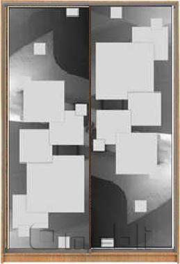 Шкаф-купе 2-х двер. №3, 100*45 б/ящ. фасад 52/53 квадраты корпус дуб молоч. A15974