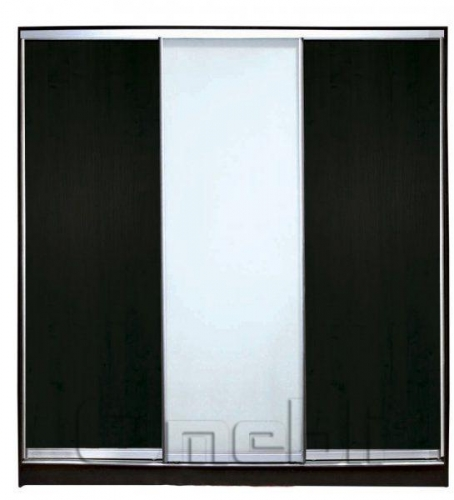 Шкаф-купе 3-х двер. №2, 220*45 б/ящ. фасад 1/7/1 венге м/зерк венге корпус дуб молоч. A21416