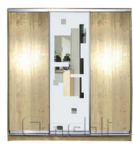 Шкаф-купе 3-х двер. №2, 220*45 б/ящ. фасад 2/51/2 дуб з/квадр дуб корпус дуб молоч. A21428