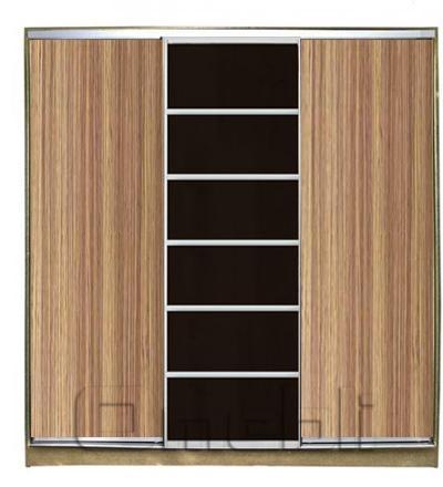 Шкаф-купе 3-х двер. №2, 220*45 б/ящ. фасад 4/27/4 зебрано венге зебрано корпус дуб молоч. A21434
