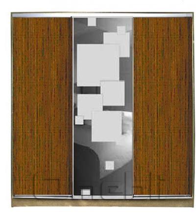 Шкаф-купе 3-х двер. №2, 220*45 б/ящ. фасад 40/53/40 орех м/квадр орех корпус дуб молоч. A21458