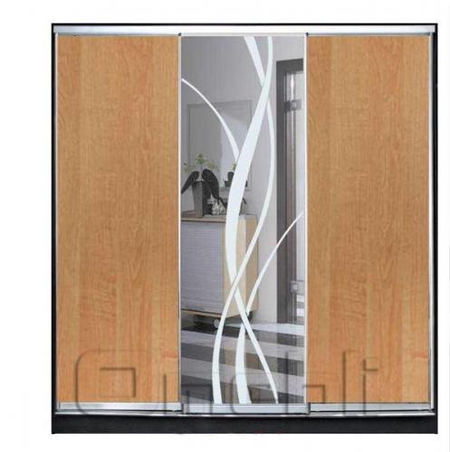 Шкаф-купе 3-х двер. №2, 220*45 б/ящ. фасад 5/9/5 ольха лиана ольха корпус дуб молоч. A21446