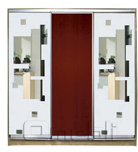 Шкаф-купе 3-х двер. №3, 220*45 б/ящ. фасад 51/3/51 з/квадр ябл з/квадр корпус дуб молоч. A21842