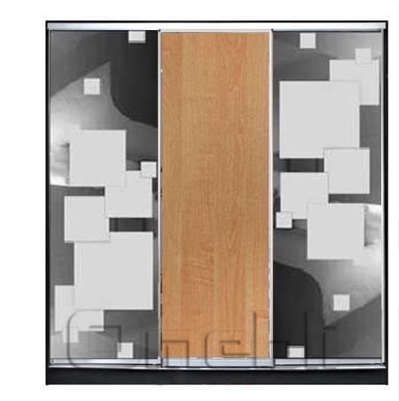 Шкаф-купе 3-х двер. №3, 220*45 б/ящ. фасад 52/5/53 м/квадр ольха м/квадр корпус дуб молоч. A21872