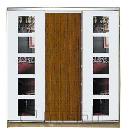 Шкаф-купе 3-х двер. №3, 220*45 б/ящ. фасад 58/40/58/ 5квадр орех 5квадр корпус дуб молоч. A21890