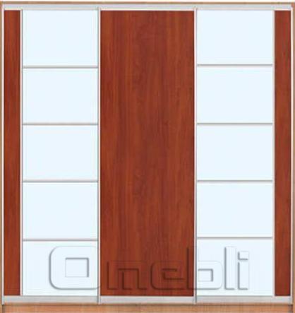 Шкаф-купе 3-х двер. №4, 220*45 б/ящ. фасад 17/3/18 яблоня м/зеркало корпус дуб молоч. A22508