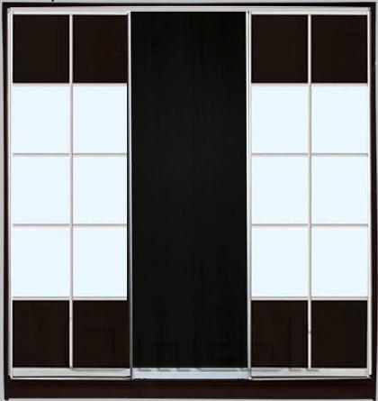 Шкаф-купе 3-х двер. №4, 220*45 б/ящ. фасад 19/1/19 венге м/зеркало корпус дуб молоч. A22550