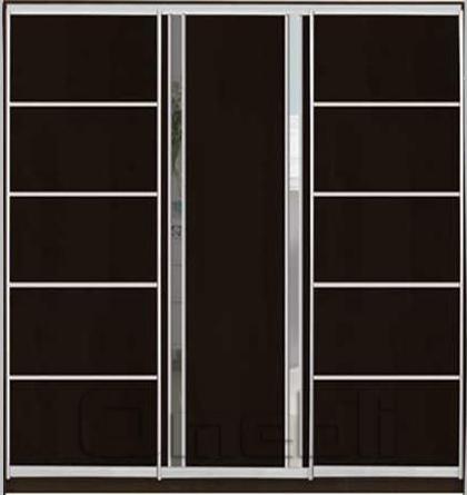 Шкаф-купе 3-х двер. №4, 220*45 б/ящ. фасад 26/33/26 венге зеркало корпус дуб молоч. A22574