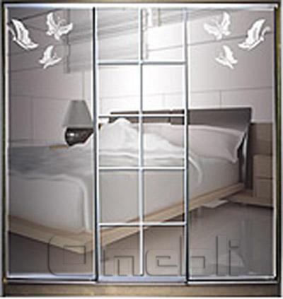 Шкаф-купе 3-х двер. №4, 220*45 б/ящ. фасад 56/15/57 бабочки зеркало бабочки корпус дуб молоч. A22604