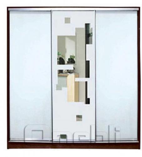 Шкаф-купе 3-х двер. №4, 220*45 б/ящ. фасад 7/51/7 м/зерк з/квадр м/зерк корпус дуб молоч. A22556