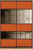 Шкаф-купе Премиум 2-х двер. №2, 100*45 фасад 116/116 оранж/з/бронза корпус дуб молоч. A28054