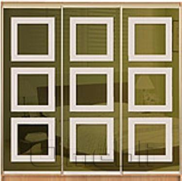 Шкаф-купе Премиум 3-х двер. №1, 220*45 фасад 66/66/66 з/бронза корпус дуб молоч. A30790