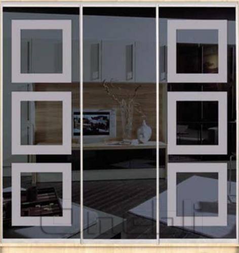 Шкаф-купе Премиум 3-х двер. №1, 220*45 фасад 67/65/67 з/графит корпус дуб молоч. A30796