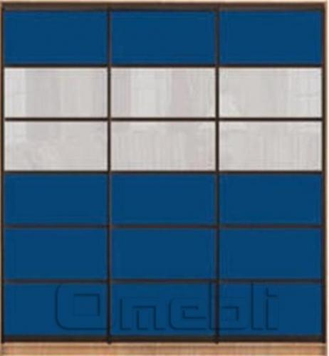 Шкаф-купе Премиум 3-х двер. №2, 220*45 фасад 107/107/107 син/бел корпус дуб молоч. A31668
