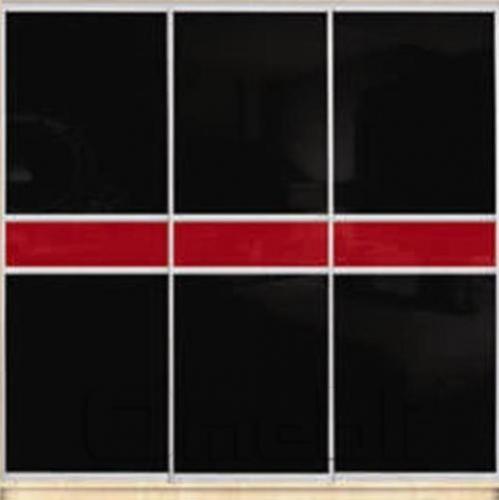 Шкаф-купе Премиум 3-х двер. №2, 220*45 фасад 111/111/111 черн/красн корпус дуб молоч. A31674