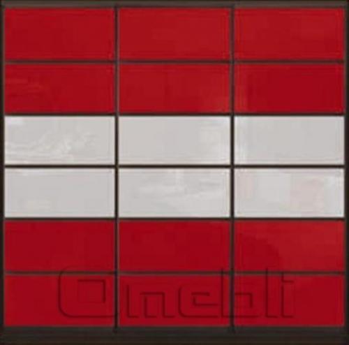 Шкаф-купе Премиум 3-х двер. №2, 220*45 фасад 112/112/112 крас/бел корпус дуб молоч. A31680