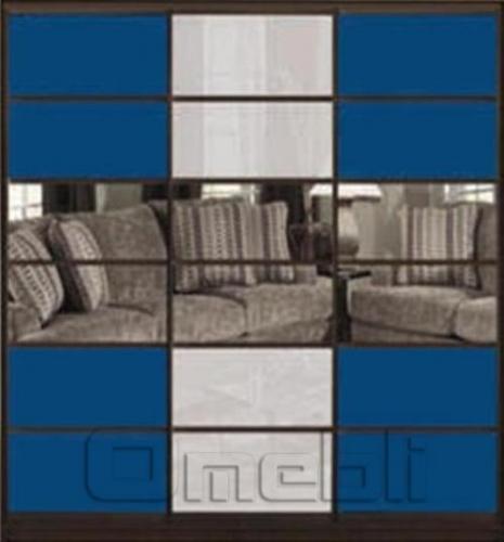 Шкаф-купе Премиум 3-х двер. №2, 220*45 фасад 114/113/114 син/з. граф бел/з. брон корпус дуб молоч. A31698