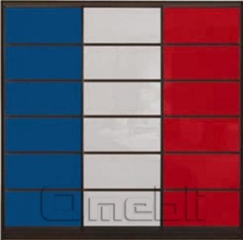 Шкаф-купе Премиум 3-х двер. №2, 220*45 фасад 120/121/122 син/бел/ красн корпус дуб молоч. A31686