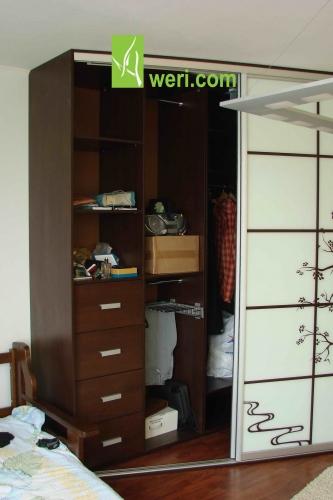 Шкаф-купе с фасадами-стекло крашенное(Сакура)