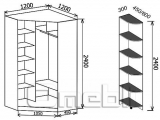 Шкаф-купе угловой №3, 120х120х45 фасад 12/12 ябл/зерк корпус дуб молоч. A32420