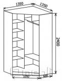 Шкаф-купе угловой №3, 120х120х45 фасад 29/29 зебр/зерк корпус дуб молоч. A32414