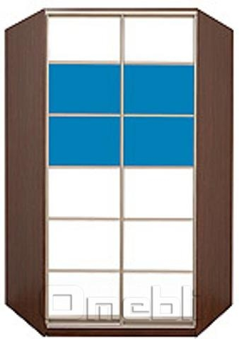 Шкаф-купе угловой №4, 120х120х45 фасад 105/105 бел/син корпус дуб молоч. A32498