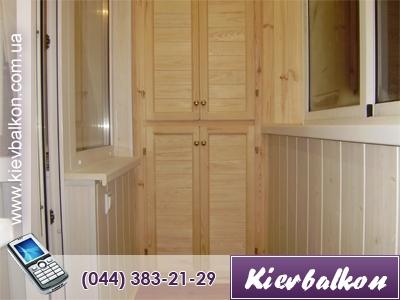 Шафа на балкон з дерев'яної вагонки 1000 x 2500 x 400 ( у ва.