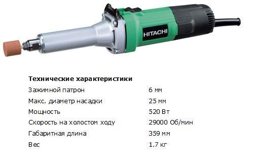 Шлифовальная машина прямая Hitachi GP2S2 (520 Вт, диметр хвостовика 6мм, макс. диаметр насадки 25мм, 1.7 кг)