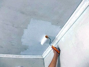 Шпаклевка и покраска потолка Малярные работы