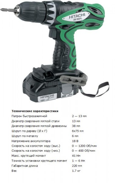Шуруповерт аккум. Hitachi DS18DFL (18 B,41 Нм 1.5Ач Li-Ion, 1.7кг, кейс)