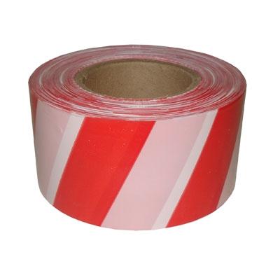 Сигнальная лента Оградительная Красно-белого цвета, ширина 75мм, толщина 60мкм
