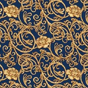 Фото  1 Синий бытовой ковролин Гвоздика на войлочной основе с рисунком 2138942