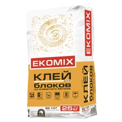"""Смесь EKOMIX """"Клей для блоков из ячеистого бетона BS 107 (доставка)"""