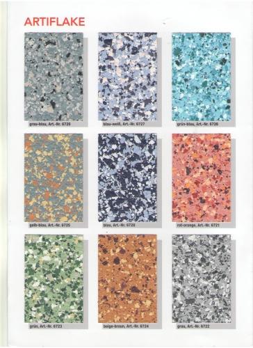 Смесь цветных чипсов для творческой отделки декоративных напольных покрытий.