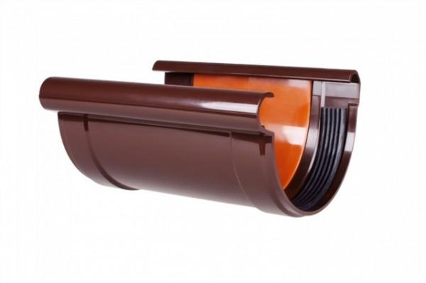 Соединитель желоба с прокладкой водосточной системы PROFIL 130/100;коричневый, белый;диаметр 130 мм