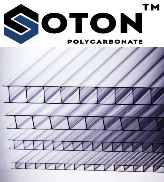 Фото 1 Сотовый поликарбонат SOTON 4 - 10 мм (прозрачный/бронзовый) ГОСТ 341457