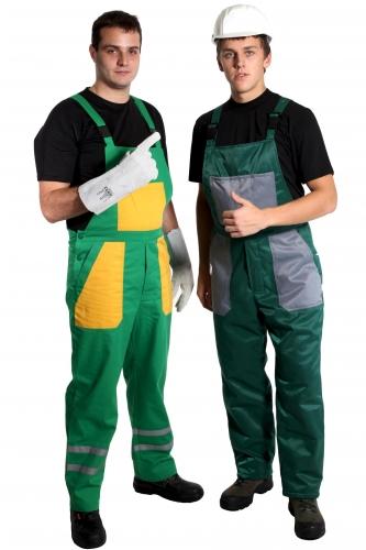 Спецодежда - полукомбинезоны, рабочие костюмы, перчатки для безопасного труда.