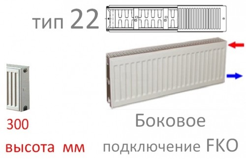 Стальной панельный радиатор Kermi FKO 22 300/700 (893)