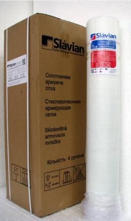 Стекловолоконная армирующая сетка Slavian145 г/м2 белая, зеленая, синяя