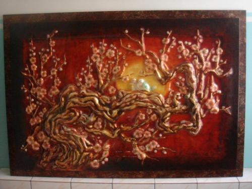 """Стеклянная картина """"Сакура"""" большая размер 130см*90см"""