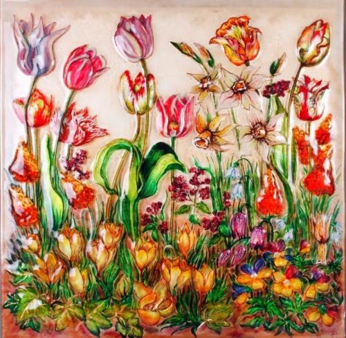 """Стеклянная картина """"Цветы"""" размер 1м*1м"""