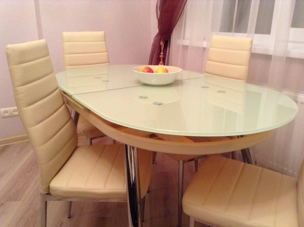 Стеклянный стол B806 серый, кремовый, купить раскладной кухонный стеклянный стол B806 серый
