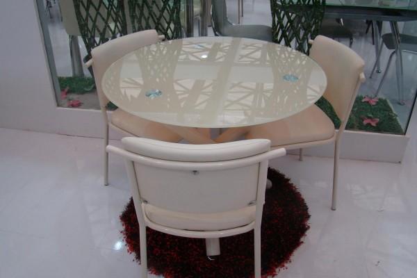 Стеклянный стол B810 крем купить Киев, круглый стеклянный стол B810 крем кухни дома, кафе, бара
