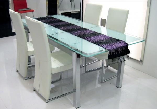Стеклянный стол TB018-8 белый купить Украине, фото, цена, отзывы, купить обеденный стеклянный стол TB018-8