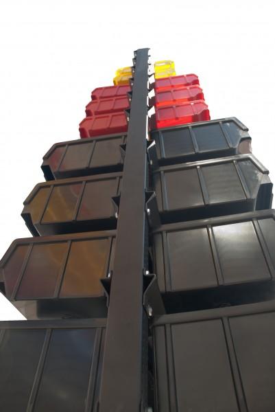 Стеллаж стальной для складских ящиков двусторонний. Арт.1500-2 (1000х360х1500), черный