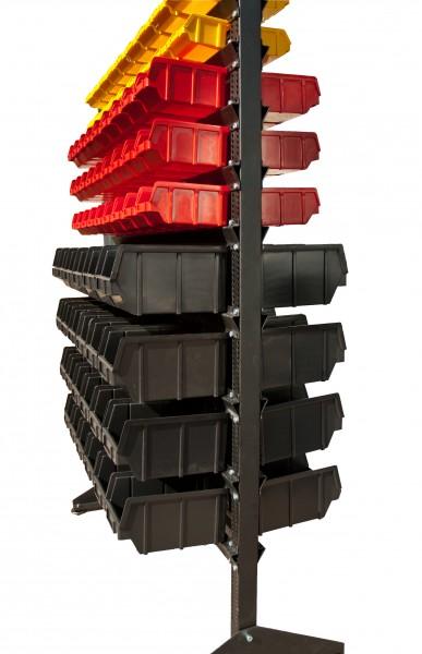 Стеллаж стальной для складских ящиков двусторонний. Арт.1800-2 (1000х360х1800), черный