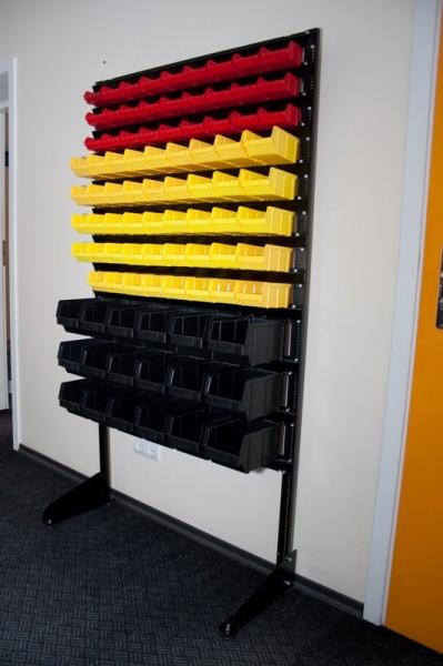 Стеллаж стальной для складских ящиков односторонний. Арт.1800-1 (1000х360х1800), черный