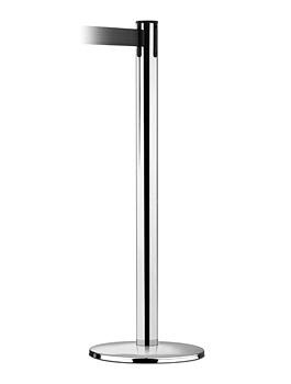 Стойка с картриджем нержавеющая сталь полированая с втяжной черной лентой длиной 2,25м (ширина ленты 48 мм. )