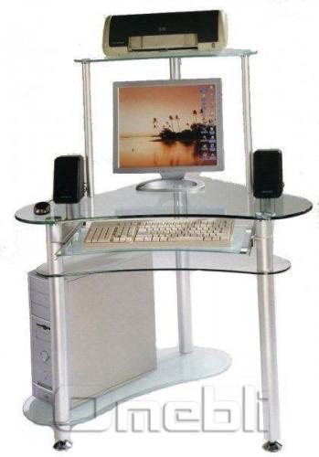 Стол компьютерный Е-20 стекло прозрачное A10046