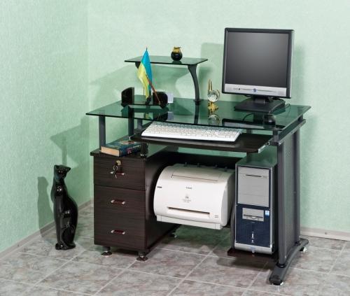 Стол компьютерный VS-15.1 Материал: МДФ Тонированное, каленное стекло Габариты: мм, ГхШхВ580х1000х750(98 0)